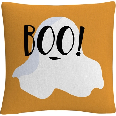 Trademark Fine Art White Ghost Boo Halloween Decorative Throw Pillow