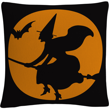Trademark Fine Art The Witches Broom Halloween Decorative Throw Pillow
