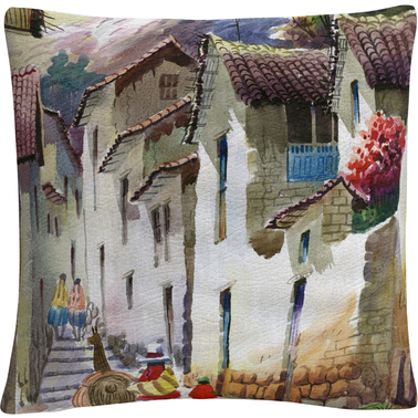 Trademark Fine Art Cuzco I Tuscan Architectural Village Decorative Throw Pillow