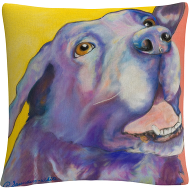 'Shadow' Animals Pets Painting Bold' By Pat Saunders White Decorative Throw Pillow