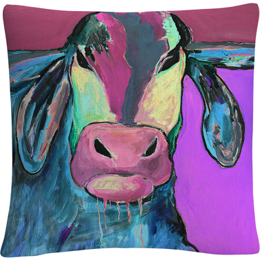 'Color Series Bull Drool 2' By Pat Saunders White Decorative Throw Pillow