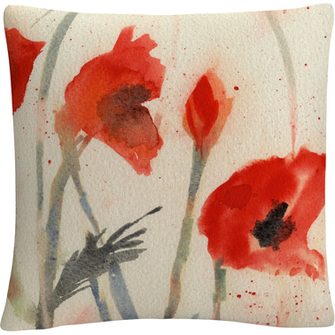 'Red Poppy Light' Floral Abstract' By Sheila Golden Decorative Throw Pillow