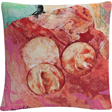 Trademark Fine Art 3 Circles Abstract Red Industrial Decorative Throw Pillow