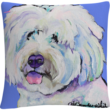 'Champ' Animals Pets Painting Bold' By Pat Saunders White Decorative Throw Pillow