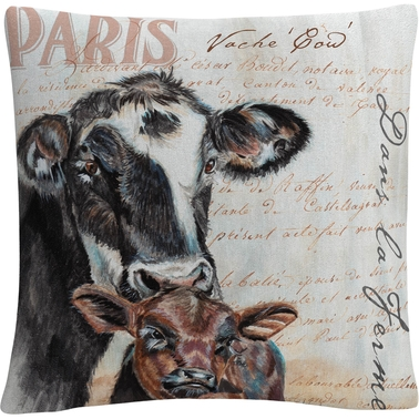 Trademark Fine Art Dans la Ferme Cow Decorative Throw Pillow