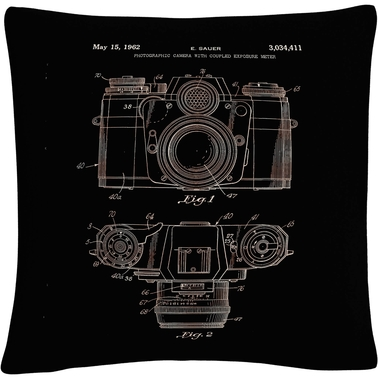 Trademark Fine Art Photographic Camera Patent 1962 Black Decorative Throw Pillow