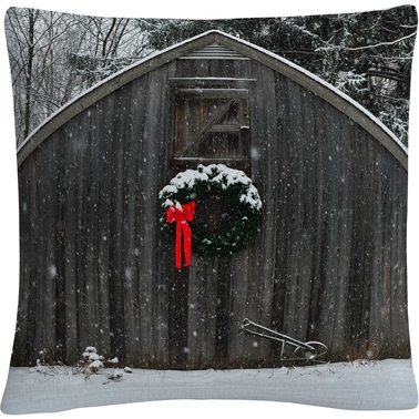 Trademark Fine Art Christmas Barn in the Snow Decorative Throw Pillow