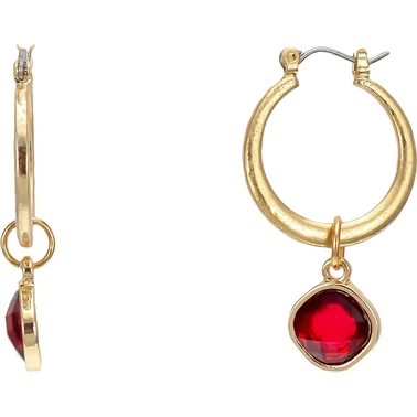 Carol Dauplaise Goldtone Red Drop Hoop Earring