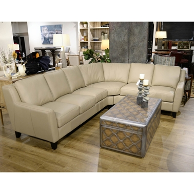 Omnia Italian Pavia Leather 5 pc. Sectional