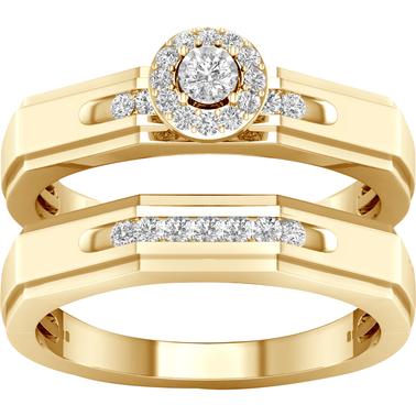 10k Yellow Gold 1 6 Ctw Diamond Bridal Set Bridal Sets Trios