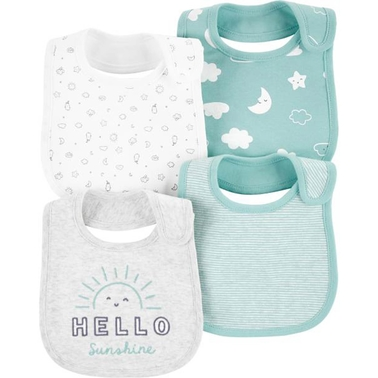 Carter's Infant Boys Sun and Moon Teething Bibs 4 pk.