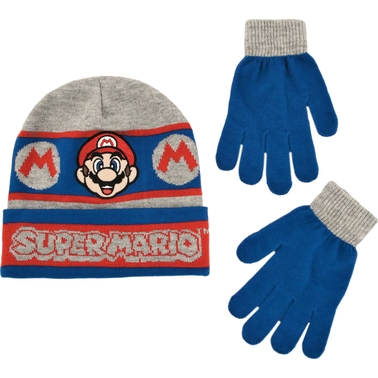 Nintendo Boys Mario Gloves and Hat Set
