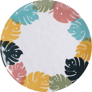 Gibson Home Tropical Sway 9 in. Leave Hammered Melamine Dinnerware