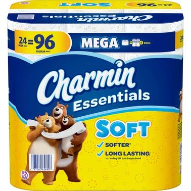 charmin essentials soft 24 mega roll toilet paper   toilet