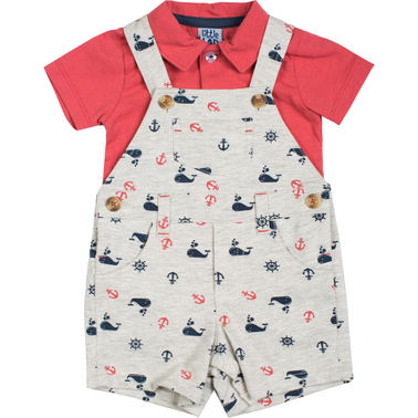 Little Lad Infant Boys Heather Nautical Shortalls and Polo 2 pc. Set