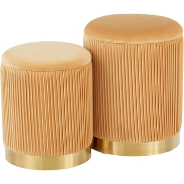 LumiSource Marla Nesting Pleated Ottoman Set in Goldtone Metal and Orange Velvet