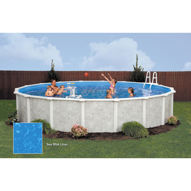 Lomart grey mist round above ground swimming pool package for Above ground pool packages cheap
