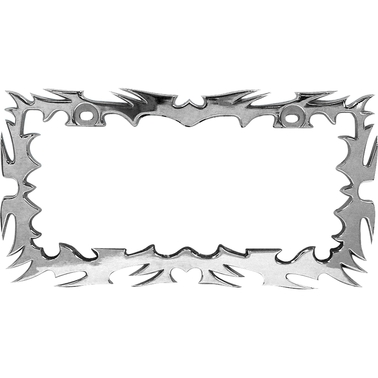 Custom Accessories Chrome Tribal Flames Design License Plate Frame