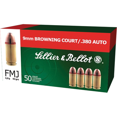 Sellier & Bellot . 380 ACP 92 Gr. FMJ, 50 Rounds