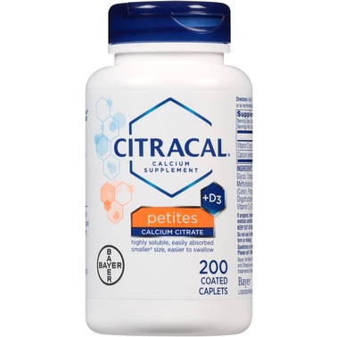Citracal +D3 Petites Calcium Supplement Coated Caplets 200 Pk.