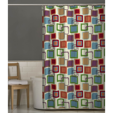 Maytex Squares Multicolor Fabric Shower Curtain Shower
