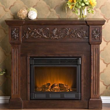 Sei Calvert Carved Electric Fireplace Indoor Heaters
