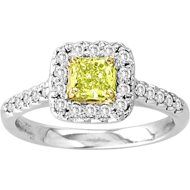 18K Two Tone Gold 3/4 CTW Fancy Yellow and White Diamond Ring, Size 7