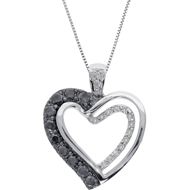 Sterling Silver 3/8 CTW Black and White Diamond Heart Pendant