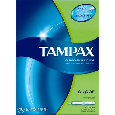 Tampax Cardboard Super Absorbency Tampons, Unscented 40 ct.