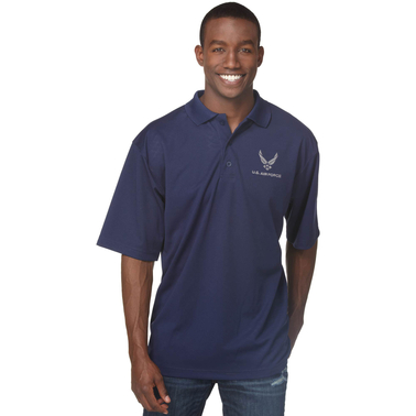Duke Performance Polo with Embroidered Air Force Insignia Dark Blue
