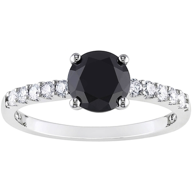 Diamore 14K White Gold 1 1/4 CTW Black and White Diamond Engagement Ring