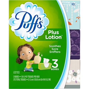 Puffs Plus Lotion Facial Tissues 3 pk.