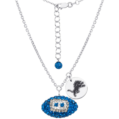Sterling Silver NFL Detroit Lions Crystal Football Necklace