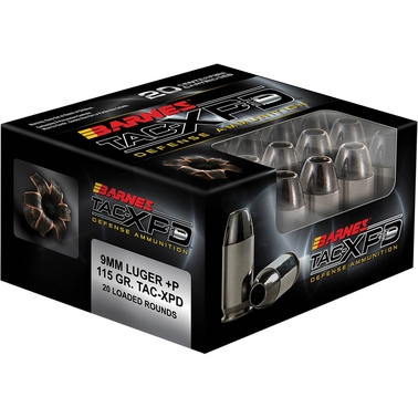 Barnes TAC-XPD 9mm+P 115 Gr. Hollow Point Lead Free, 20 Rounds