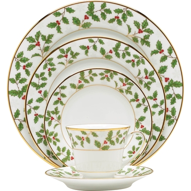 Noritake Holly and Berry Gold 5 pc. Place Setting
