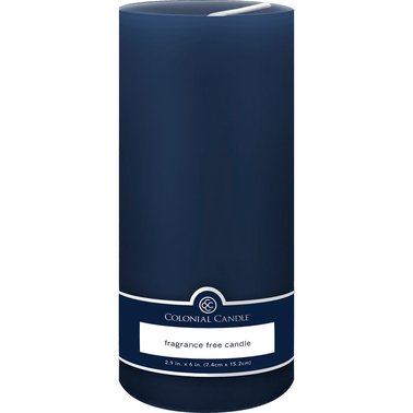 colonial candle indigo blue unscented 3 x 6 pillar candle colonial candle more shop the exchange