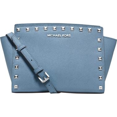 b15d5696a38a Michael Kors Selma Studded Leather Medium Messenger | Handbags ...