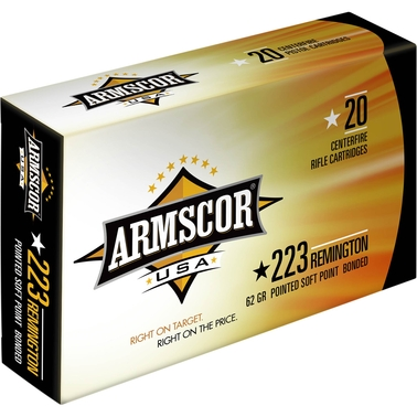 Armscor .223 Rem 62 Gr. Bonded Pointed Soft Point, 20 Rounds