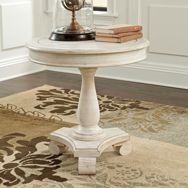 Signature Design By Ashley Mirimyn Round Accent Table, Soft White