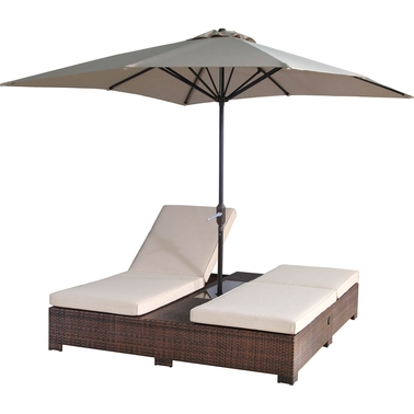 Sunmate casual portofino outdoor double patio chaise for Casual chaise lounge