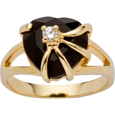 PalmBeach 14k Yellow Goldtone Heart Genuine Onyx Zirconia Accent Cocktail Ring