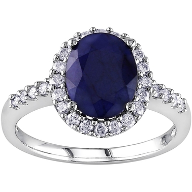 14K White Gold 2/5 CTW Diamond And Diffused Sapphire Engagement Ring