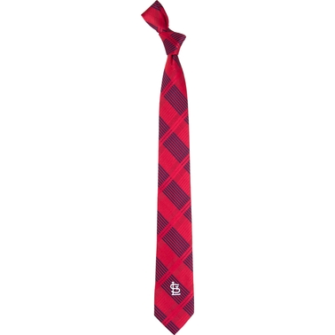 Eagles Wings MLB St. Louis Cardinals Woven Skinny Plaid Tie