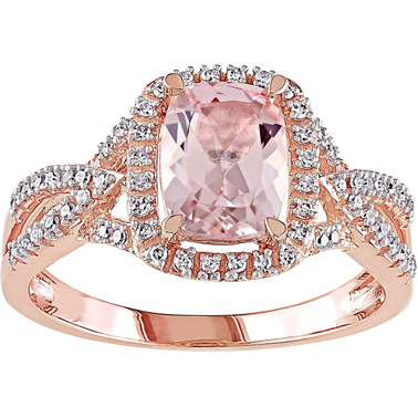 Sofia B. 10K Pink Gold 1/6 ct. Diamond and Morganite Ring