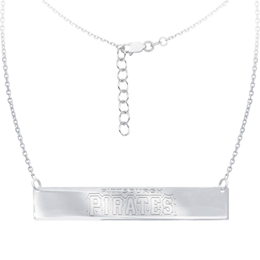 Sterling Silver MLB Pittsburgh Pirates Bar Necklace With 16 In. Chain