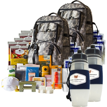 Wise Emergency Food 5 Day Survival Backpack with Water Filtration Bottle 2 pk.
