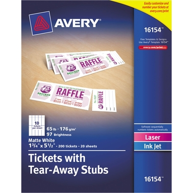 Avery Printable Tickets With Tear Away Stubs 10 Per Sheet 20 Sheet