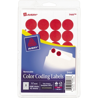 Avery Removable 3/4 In. Diameter Color-Coding Labels 1008 Pk.