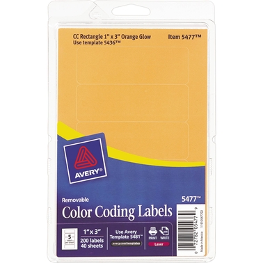 Avery 1 X 3 In Removable Color Coding Labels 200 Pk Labels