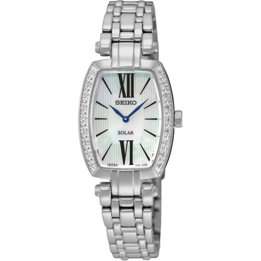 Seiko Women's Tressia Solar Stainless Steel Mother of Pearl Dial Watch SUP283